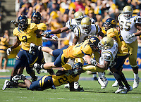 September 4, 2010:  Chris Conte and Josh Hill of California work together to bring down Jonathan Franklin of UCLA for a loss during a game at Memorial Stadium in Berkeley, California.    California defeated UCLA 35-7