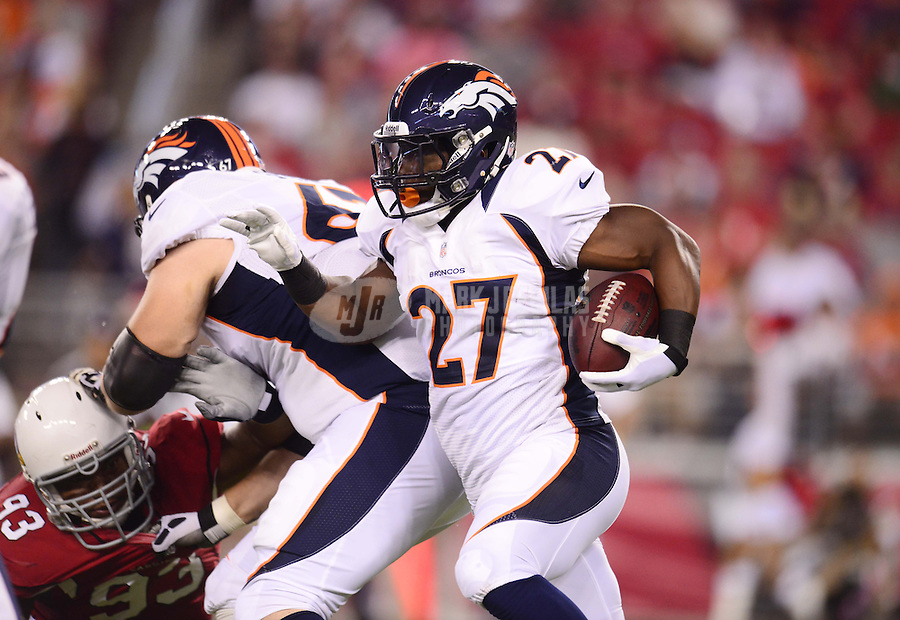 Aug. 30, 2012; Glendale, AZ, USA; Denver Broncos running back (27) Knowshon Moreno runs the ball in the first quarter against the Arizona Cardinals during a preseason game at University of Phoenix Stadium. Mandatory Credit: Mark J. Rebilas-