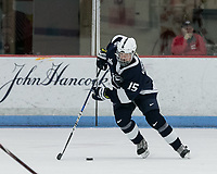 "Boston, Massachusetts - December 30, 2018: NCAA Division I. Pennsylvania State University (Penn State) (blue) tied Boston University (white), 1-1, at Walter Brown Arena, ""Skating Strides Game."""