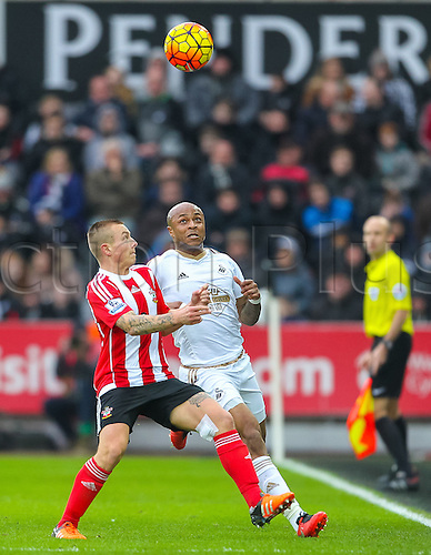 13.02.2016. Liberty Stadium, Swansea, Wales. Barclays Premier League. Swansea versus Southampton. Southampton's Jordy Clasie battles with Swansea City's Andre Ayew for a loose ball