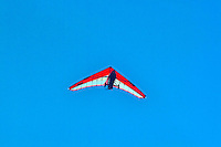 An ultralight airplane flys overhead.
