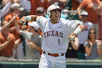 Texas Longhorns catcher Tres Barrera (1) celebrates after scoring a run during the NCAA Super Regional baseball game against the Houston Cougars on June 7, 2014 at UFCU Disch–Falk Field in Austin, Texas. The Longhorns are headed to the College World Series after they defeated the Cougars 4-0 in Game 2 of the NCAA Super Regional. (Andrew Woolley/Four Seam Images)