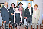 EXHIBITING: Joop Smits (4th left) pictured at the opening of his art exhibition in the Frank Lewis Gallery, Killarney, on Friday night last as part of Culture Weekend. Pictured with Joop were l-r: Frank and Siobhán Lewis, Neasa Griffin with Walter and Peggy Keane.