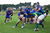 Peter Mata braces for the impact as he makes a run down the blindside. Oceania Cup & RWC Qualifier rugby game between the Cook Islands & Niue played at Growers Stadium, Pukekohe, on Saturday 27th June 2009. The Cook Islands won 29 - 7 after leading 9 - 7 at halftime.