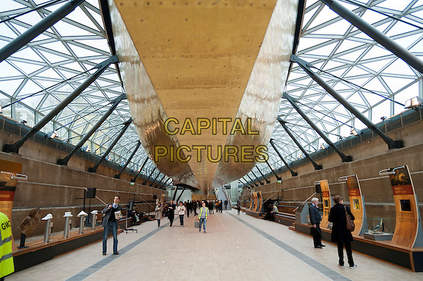 Cutty Sark. Last surviving tea clipper and one of Britain's greatest maritime treasures, reopens  after an extensive conservation project.  Preview of the renovated tea clipper, moored at Greenwich, after it was ravaged by a fire in 2007. The Queen officially re-opens the museum tomorrow.  Greenwich, London, England..gv general view rope ship boat deck beams glass gold glass roof ceiling .CAP/BF.©Bob Fidgeon/Capital Pictures.