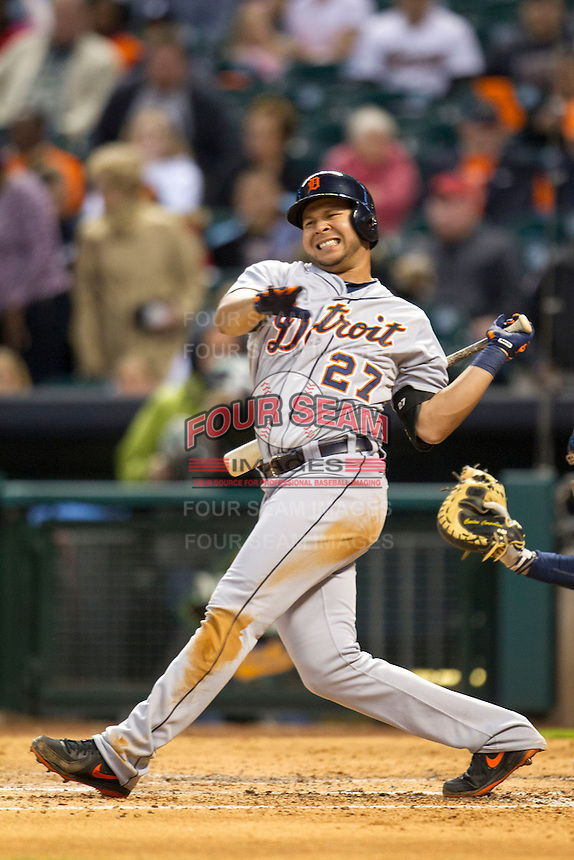 Detroit Tigers shortstop Jhonny Peralta (27) grimaces after swinging during the MLB baseball game against the Houston Astros on May 3, 2013 at Minute Maid Park in Houston, Texas. Detroit defeated Houston 4-3. (Andrew Woolley/Four Seam Images).