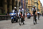 Team Dimension Data riders head out for a practice run before Stage 1 of the 2019 Giro d'Italia, an individual time trial running 8km from Bologna to the Sanctuary of San Luca, Bologna, Italy. 11th May 2019.<br /> Picture: Eoin Clarke | Cyclefile<br /> <br /> All photos usage must carry mandatory copyright credit (© Cyclefile | Eoin Clarke)