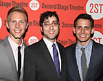 Justin Paul, Peter Duchan & Benj Pasek  .attending the after Party for Off-Broadway Opening Night Performance of Second Stage Theatre's 'Dogfight' at HB Burger in New York City.