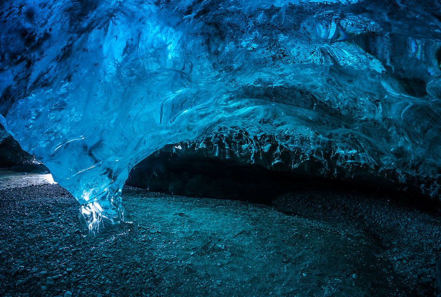 JOKULSARLON, ICELAND - CIRCA MARCH 2015: Ice cave near the Glacial Lagoon in the  Vatnajökull National Park