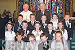 Anablath NS, Kilcummin pupils who received their first Holy communion in Our lady of Lourdes church, Kilcummin on Saturday front row l-r: Micheal Sweeney, Ailbhe Murphy, Evan Murphy, Carolette Doolan. Middle row: Roisin Breen, John Friel, Emer Fahy, nathan McCarthy, Bebhinn Brosnan. Back row: Conn Fleming, Darren Lehane, Philip O'Leary, Jodie Hannafin, Jack McClain with Fr Joe Begley and teacher Pat Breen..