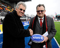 20130324 Copyright onEdition 2013©.Free for editorial use image, please credit: onEdition..Nigel Wray, Saracens chairman, shakes hands with Clem Booth, member of the Allianz board of management, before the Premiership Rugby match between Saracens and Harlequins at Allianz Park on Sunday 24th March 2013 (Photo by Rob Munro)..For press contacts contact: Sam Feasey at brandRapport on M: +44 (0)7717 757114 E: SFeasey@brand-rapport.com..If you require a higher resolution image or you have any other onEdition photographic enquiries, please contact onEdition on 0845 900 2 900 or email info@onEdition.com.This image is copyright onEdition 2013©..This image has been supplied by onEdition and must be credited onEdition. The author is asserting his full Moral rights in relation to the publication of this image. Rights for onward transmission of any image or file is not granted or implied. Changing or deleting Copyright information is illegal as specified in the Copyright, Design and Patents Act 1988. If you are in any way unsure of your right to publish this image please contact onEdition on 0845 900 2 900 or email info@onEdition.com