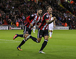 Nathan Thomas of Sheffield Utd celebrates scoring during the Carabao Cup round One match at Bramall Lane Stadium, Sheffield. Picture date 9th August 2017. Picture credit should read: Jamie Tyerman/Sportimage