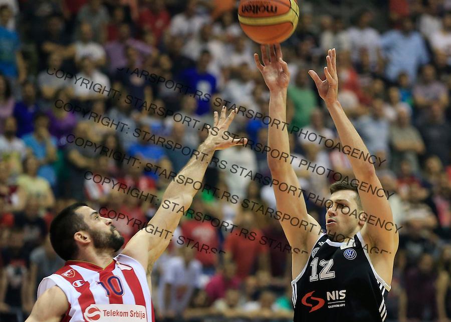 Kosarka Kosarkaska Liga Srbije season 2014-2015<br /> Crvena Zvezda v Partizan<br /> Dragan Milosavljevic (R) and Branko Lazic<br /> Belgrade, 05.17.2015.<br /> foto: Srdjan Stevanovic/Starsportphoto &copy;