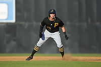 Conner Uselton (25) of the Bristol Pirates takes his lead off of first base against the Danville Braves at American Legion Post 325 Field on July 1, 2018 in Danville, Virginia. The Braves defeated the Pirates 3-2 in 10 innings. (Brian Westerholt/Four Seam Images)