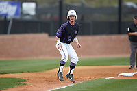 Hunter Lee (2) of the High Point Panthers takes his lead off of third base against the North Carolina Central Eagles at Williard Stadium on February 28, 2017 in High Point, North Carolina. The Eagles defeated the Panthers 11-5. (Brian Westerholt/Four Seam Images)