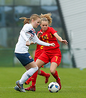 20191101 - Tubize: Belgian Alixe Bosteels (R) and Norwegian Andrea Hunstad pictured during the international friendly match between Red Flames U16 (Belgium) and Norway U16 on 1 November 2019 at Belgian Football Centre, Tubize. PHOTO:  SPORTPIX.BE   SEVIL OKTEM