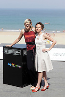 "Director Jasmila Zbanic (L) and actress Kym Vercoe (R) posse in the photocall of the ""For those who can tell no lies"" film presentation during the 61 San Sebastian Film Festival, in San Sebastian, Spain. September 26, 2013. (ALTERPHOTOS/Victor Blanco)"