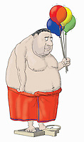 Overweight man standing on bathroom scales holding balloons