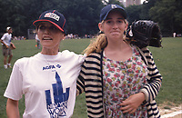 ***FILE PHOTO*** Margot Kidder has passed away at 69****<br /> Margot Kidder with her daughter during the Women In Film softball game on June 1, 1987 in Central Park, New York City. <br /> CAP/MPI/WAL<br /> &copy;WAL/MPI/Capital Pictures