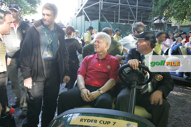 September 24th, 2006. American President Bill Clinton is brought around in a caddy car during the singles final session of the last day of the 2006 Ryder Cup at the K Club in Straffan,. County Kildare in the Republic of Ireland...Photo: Fran Caffrey/ Newsfile.
