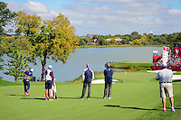 Rickie Fowler (USA), left, hits his approach shot on 10 during the practice round at the Ryder Cup, Hazeltine National Golf Club, Chaska, Minnesota, USA.  9/29/2016<br /> Picture: Golffile | Ken Murray<br /> <br /> <br /> All photo usage must carry mandatory copyright credit (&copy; Golffile | Ken Murray)