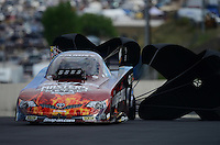 Jul, 21, 2012; Morrison, CO, USA: NHRA funny car driver Cruz Pedregon during qualifying for the Mile High Nationals at Bandimere Speedway. Mandatory Credit: Mark J. Rebilas-US PRESSWIRE