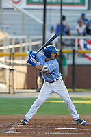 Burlington Royals infielder Bhret Bewley (15) at bat during a game against the Kingsport Mets at Burlington Athletic Complex on July 28, 2018 in Burlington, North Carolina. Burlington defeated Kingsport 4-3. (Robert Gurganus/Four Seam Images)