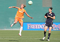 Alex Singer #21 of Washington Freedom watches Kacey White #20 of Sky Blue FC head the ball during a WPS match at RFK Stadium on May 23, 2009 in Washington D.C. Freedom won the match 2-1