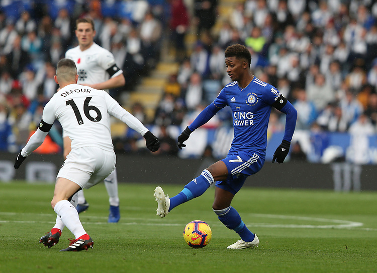 Leicester City's Demarai Gray and Burnley's Steven Defour<br /> <br /> Photographer Stephen White/CameraSport<br /> <br /> The Premier League - Saturday 10th November 2018 - Leicester City v Burnley - King Power Stadium - Leicester<br /> <br /> World Copyright © 2018 CameraSport. All rights reserved. 43 Linden Ave. Countesthorpe. Leicester. England. LE8 5PG - Tel: +44 (0) 116 277 4147 - admin@camerasport.com - www.camerasport.com