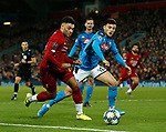 Alex Oxlade-Chamberlain of Liverpool and Eljif Elmas of Napoli during the UEFA Champions League match at Anfield, Liverpool. Picture date: 27th November 2019. Picture credit should read: Andrew Yates/Sportimage