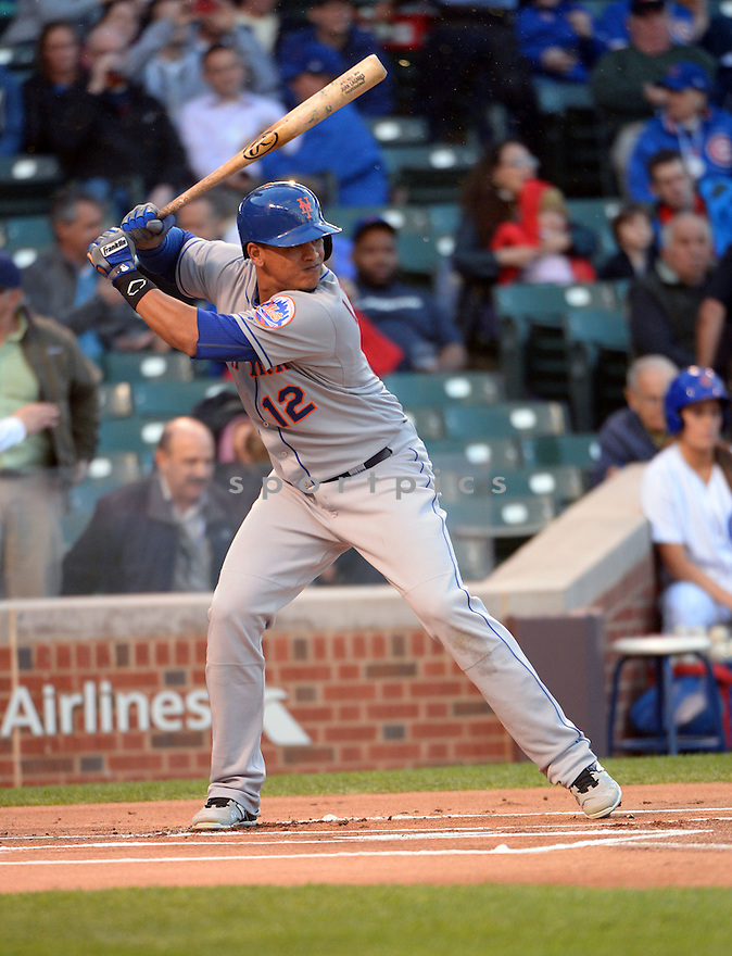 New York Mets Juan Lagares (12) during a game against the Chicago Cubs on May 11, 2015 at Wrigley Field in Chicago, IL. The Cubs beat the Mets 4-3.