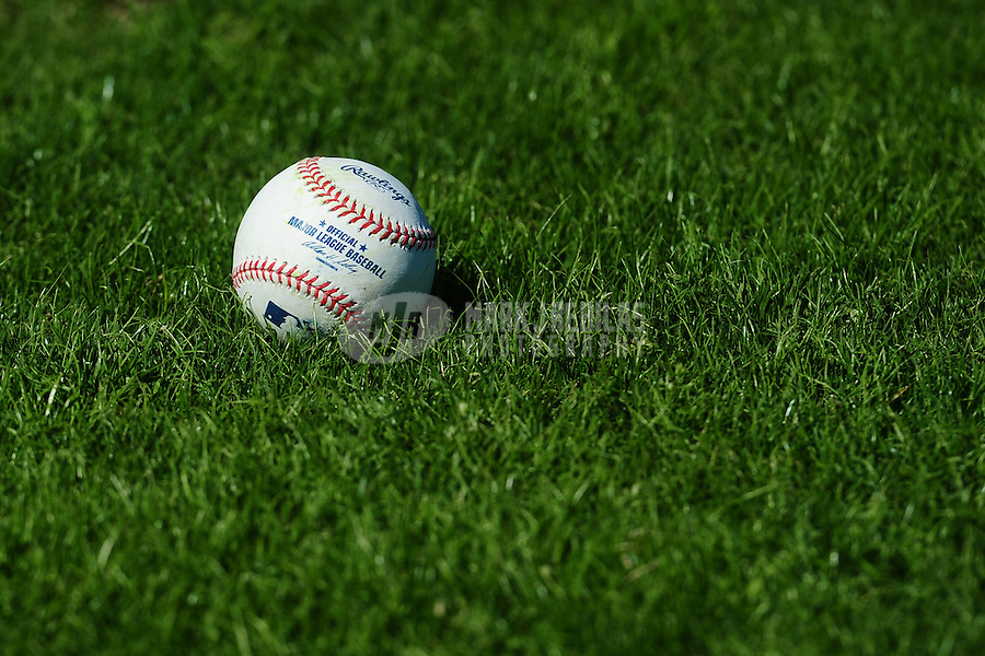 February 14, 2011; Clearwater, FL, USA;  Detailed view of a major league baseball sitting in the grass during Philadelphia Phillies spring training at Bright House Networks Field. Mandatory Credit: Mark J. Rebilas-