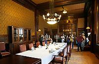 Nederland  Amsterdam - 2017.   Open Monumentendag. Het Scheepvaarthuis -  Grand Hotel Amrath. Het Scheepvaarthuis is ontworpen door J.M van der Mey. De Beraadzaal.  Foto Berlinda van Dam / Hollandse Hoogte
