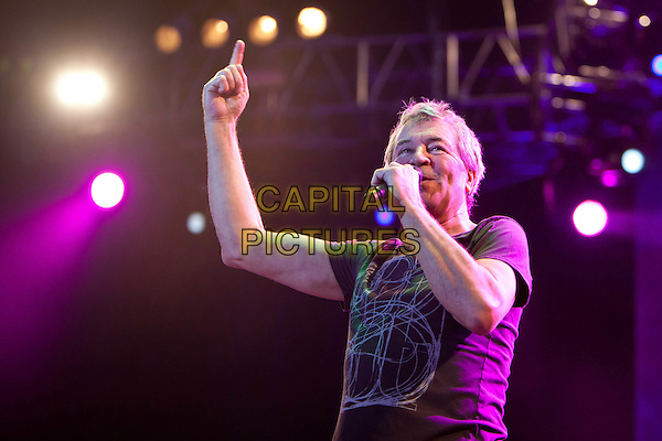 Deep Purple - Ian Gillan.Concert in Moscow.March 23rd, 2011.on stage in concert live gig performance performing music band group half length black t-shirt singing arm in air.CAP/PER/SB.©SB/PersonaStars/CapitalPictures