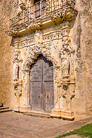 The front doors at Mission San Hose at the San Antonio Missions National Historic Park.