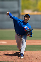 Chicago Cubs relief pitcher Erick Leal (52) delivers a pitch to the plate during an Extended Spring Training game against the Los Angeles Angels at Sloan Park on April 14, 2018 in Mesa, Arizona. (Zachary Lucy/Four Seam Images)