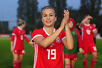 Megan Wynne of Wales Women's' applauds the fans at the final whistle during the Women's International Friendly match between Wales and New Zealand at the Cardiff International Sports Stadium in Cardiff, Wales, UK. Tuesday 04 June, 2019