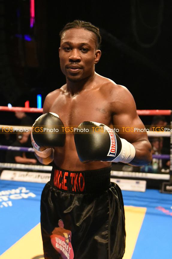 Tunji Ogunniya (black shorts) defeats Teodor Nikolov during a Boxing Show at Indigo at the O2 on 20th October 2017