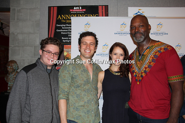 """Opening Night of Ken Ludwig's The Three Musketeers, an epic adventure at Pennsylvania Shakespeare Festival on July 14, 2017 starring As The World Turn's Marnie Schulenburg """"Queen Anne"""", her husband Zack Robidas as """"Porthos"""" and Esau Pritchett posing with Kameron Maxwell (Photos by Sue Coflin/Max Photos)"""