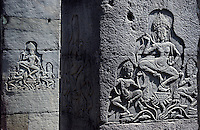 Traditional Khmer art on the temple wall at Angkor wat and other Temples
