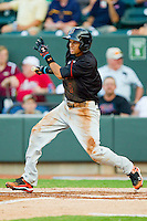 California League All-Star Billy Hamilton #4 of the Bakersfield Blaze follows through on his swing against the Carolina League All-Stars during the 2012 California-Carolina League All-Star Game at BB&T Ballpark on June 19, 2012 in Winston-Salem, North Carolina.  The Carolina League defeated the California League 9-1.  (Brian Westerholt/Four Seam Images)