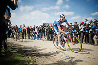 Frederik Backaert (BEL/Wanty-Groupe Gobert) leading the race with less than 25km to go in sector 6: Bourghelles &agrave; Wannehain (1.1km)<br /> <br /> 113th Paris-Roubaix 2015