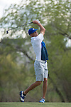 19 MAY 2016: Griffin Brown of Limestone College hits his second shot during the 2016 Division II Men's Individual Golf Championship held at Green Valley Ranch Golf Club in Denver, CO. Justin Tafoya/NCAA Photos