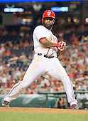 Washington Nationals center fielder Denard Span (2) leans back from a pitch as he bats in the seventh inning against the Colorado Rockies at Nationals Park in Washington, D.C. on Tuesday, July 1, 2014.  During the at-bat Span drew a walk. The Nationals won the game 7 - 1.<br /> Credit: Ron Sachs / CNP