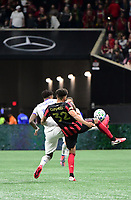 ATLANTA, GA - MARCH 07: ATLANTA, GA - MARCH 07: Atlanta United defender George Campbell clears the ball during the match against FC Cincinnati, which Atlanta won, 2-1, in front of a crowd of 69,301 at Mercedes-Benz Stadium during a game between FC Cincinnati and Atlanta United FC at Mercedes-Benz Stadium on March 07, 2020 in Atlanta, Georgia.