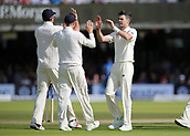 9th September 2017, Lords Cricket Ground, London, England; International test match series, third test, Day 3; England versus West Indies; England Bowler James Anderson celebrates taking the wicket of West Indies Roston Chase with England Captain Joe Root and Alastair Cook