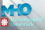 Main entrance sign of the Marien Hospital, Osnabruck, Germany. Royalty Free