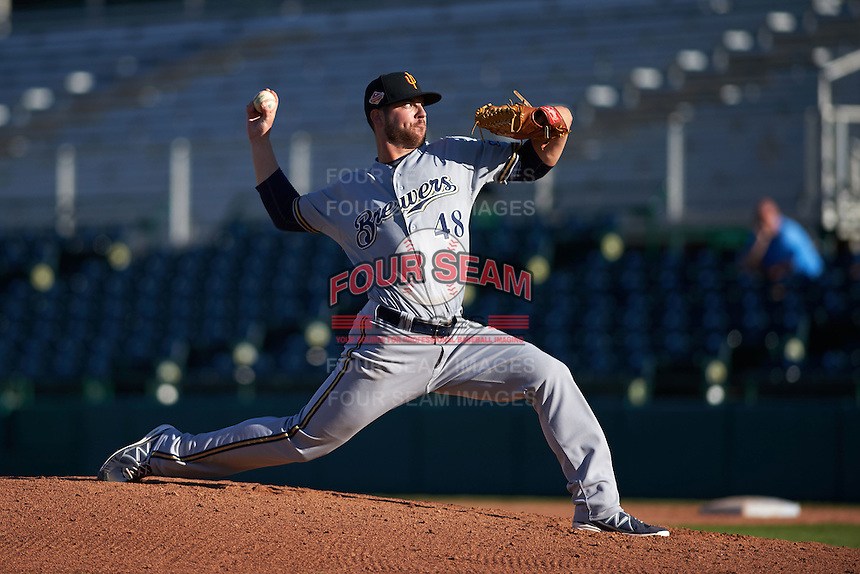 Surprise Saguaros pitcher Damien Magnifico (48) delivers a pitch during an Arizona Fall League game against the Scottsdale Scorpions on October 22, 2015 at Scottsdale Stadium in Scottsdale, Arizona.  Surprise defeated Scottsdale 7-6.  (Mike Janes/Four Seam Images)