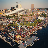 1991 June..Redevelopment.Downtown South (R-9)..Harborfest Aerials from helicopter .Low angle close up of tip of Towne Point Park..06/91 (REDEV :DT Sth3:3 :4 :2-F10).NEG#.NRHA#..