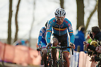 Sven Nys (BEL) followed closely by Zdenek Stybar (CZE)<br /> <br /> 2014 UCI cyclo-cross World Championships, EliteMen